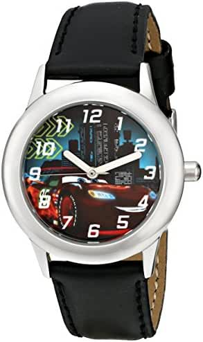 Disney Kids' W001590 Cars Lightning McQueen Stainless Steel Watch, Black Leather Band